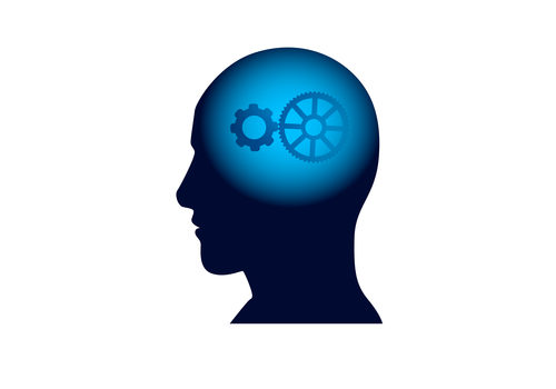 Head With Cog Wheel In Brain, Brainstorm Thinking Intelligence Concept Icon Flat Vector Illustration